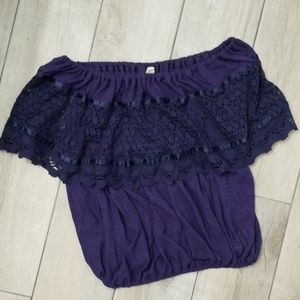 Free People lace crochet boho top